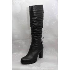 Дамски ботуши  3030 естествена кожа, черен